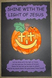 Shine with the light of Jesus jack-o-lantern for Halloween Sunday School craft