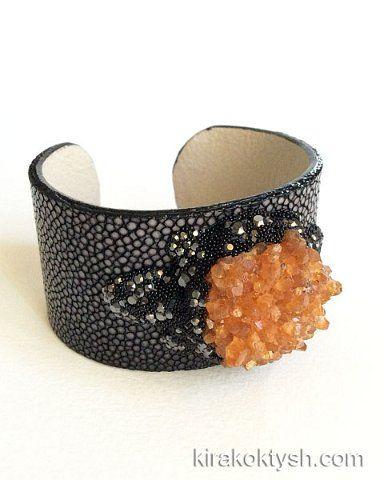 Kira Koktysh Jewelry Stingray Skin Cuff (Materials: Genuine Polished Stingray Skin, Citrine Cluster, Swarovski crystals, )