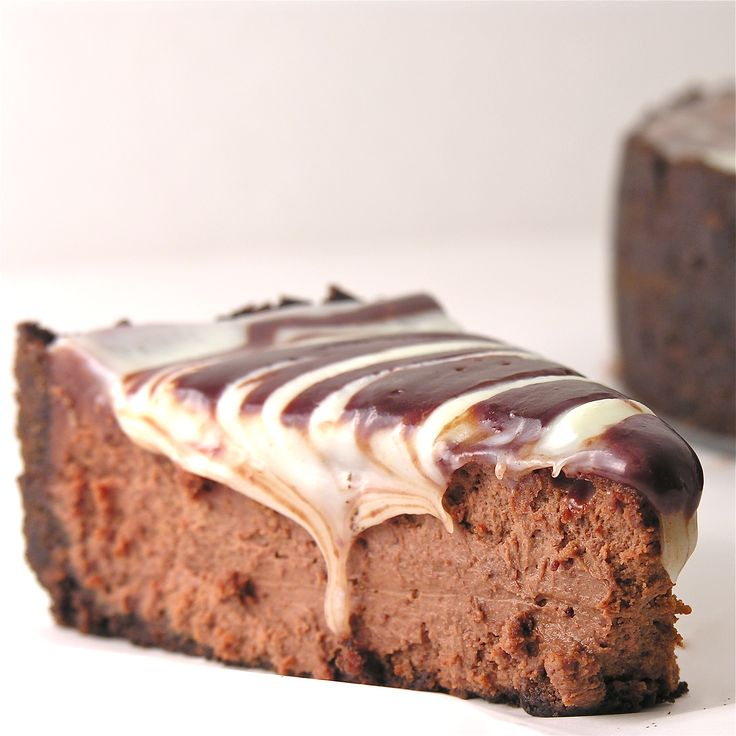 Smooth and creamy dark chocolate cheesecake covered in white and milk chocolate toppings....yum. INGREDIENTS: Crust: 9 oz. chocolate wafer cookies (I use chocolate animal crackers) 1/4 c. margarine...