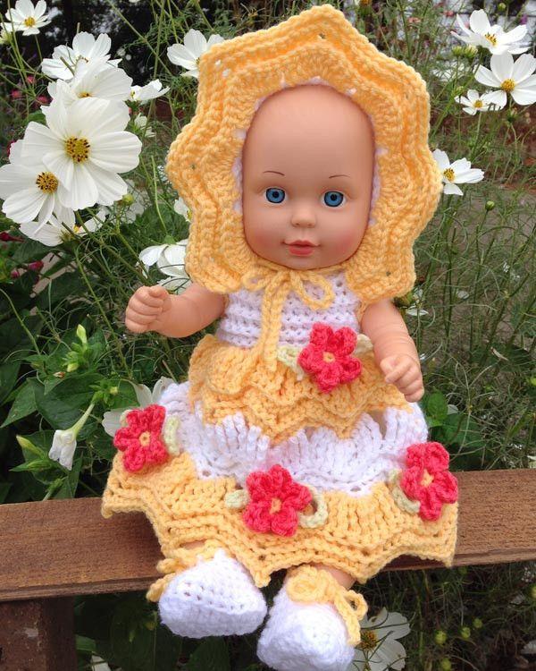"""Little Miss Sunshine for 15"""" Dolls Crochet Pattern"""