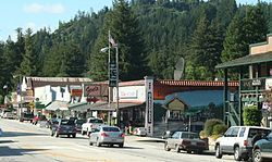 Boulder Creek is a census-designated place (CDP) in Santa Cruz County, California, with a population of 4,923 as of the 2010 census. Boulder Creek served as the upper terminus of the San Lorenzo Valley Logging Flume terminating in Felton, which began construction in 1874 and when formally opened in October 1875 was augmented by a new rail line to transport logs to the wharf in Santa Cruz.