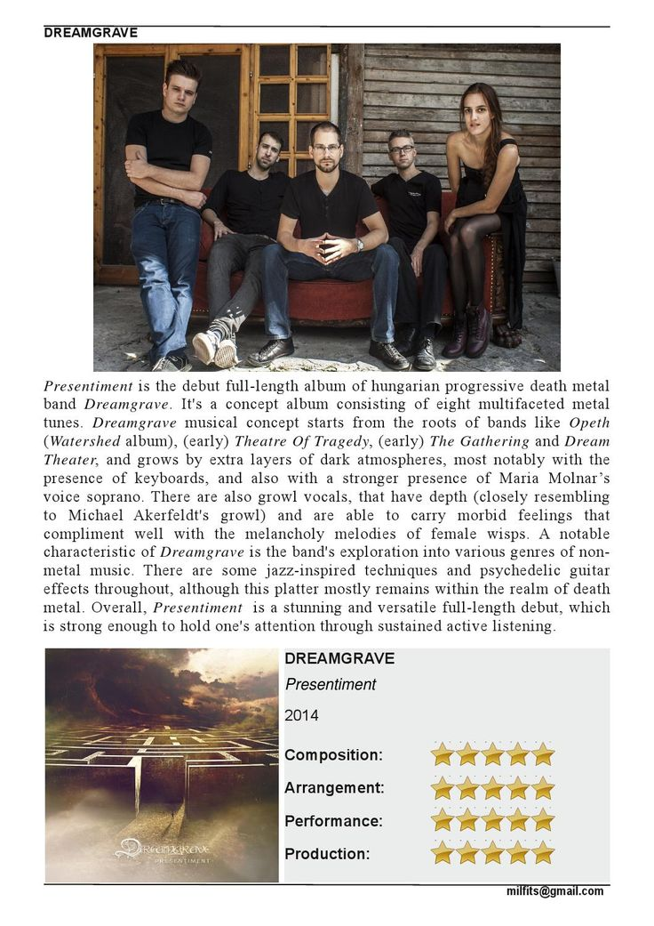"""Dreamgrave  """"Presentiment"""" Review (Milfits 'zine, issue#3)"""