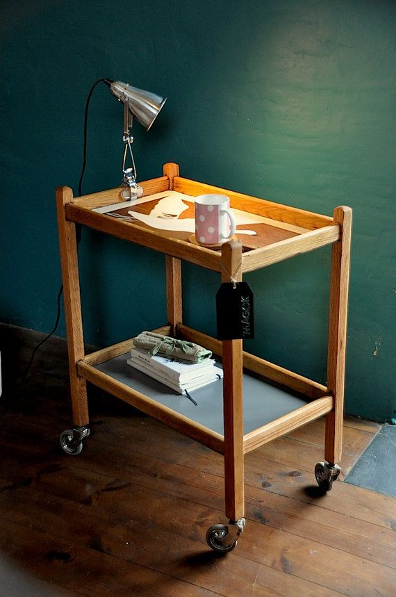 Side Table Upcycled Vintage Furniture Tea Trolley Hand by 7MAGOK