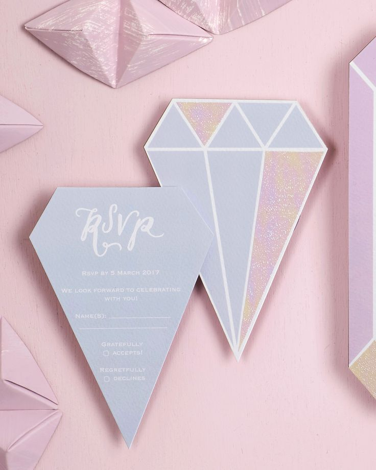 Iridescent Pastel Gem-Inspired Wedding Invitations by BerinMade