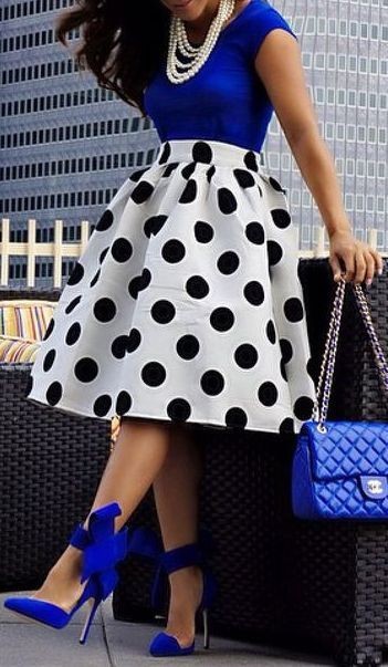Black & white with pops of royal blue!