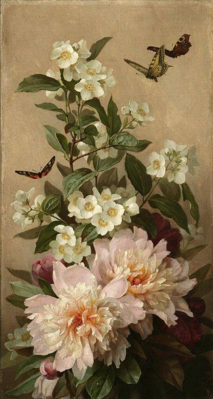 Paul de Longpré 'Peonies and butterflies' c.1900 | Flickr - Photo Sharing!