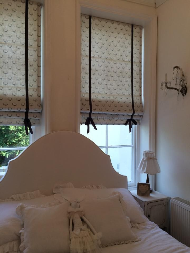 Ribbon Trimmed Roman Blinds In Peony Amp Sage Fabric