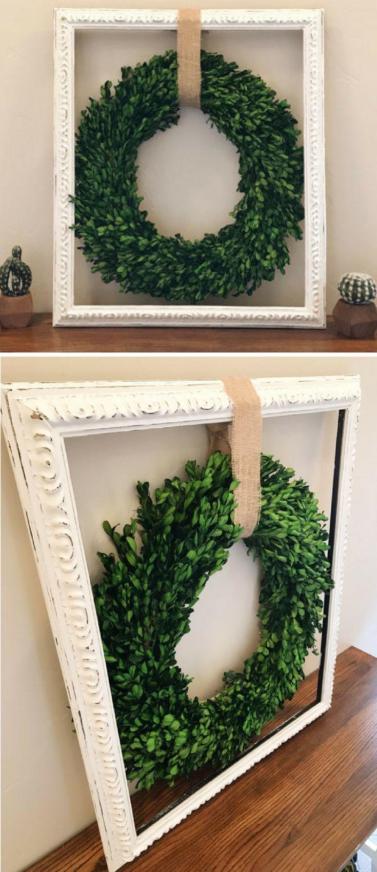 Cottage Style Wreath, Farmhouse Decor, Indoor Wreath, Rustic Mantel Decor, Shabby Chic Wreath, Rustic Cottage Style, living room wall decor, Wreath in Frame, Farmhouse sign, Farmhouse wall art, Rustic sign, gift idea, home decor #ad