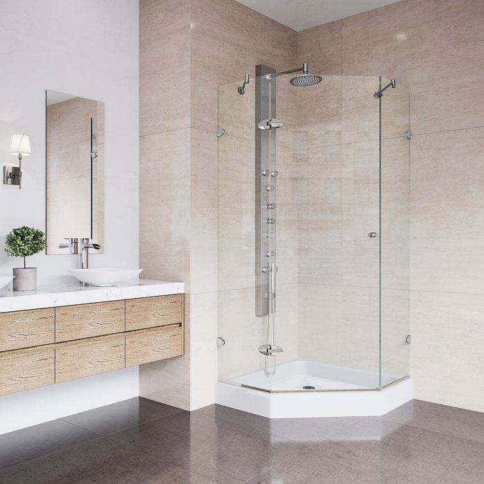 Verona 42 13 W X 78 25 H Neo Angle Hinged Shower Enclosure With