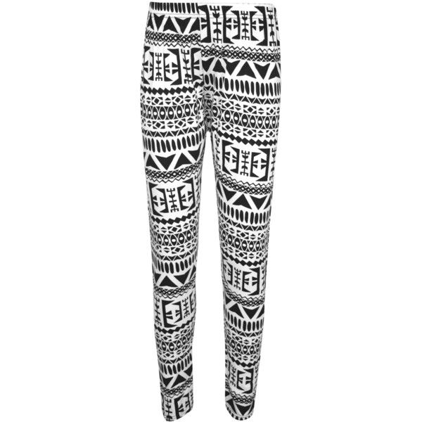 Amelia Aztec Print Leggings (£7) ❤ liked on Polyvore featuring pants, leggings, black, stretch waist pants, print leggings, full length leggings, black stretch leggings and black pants
