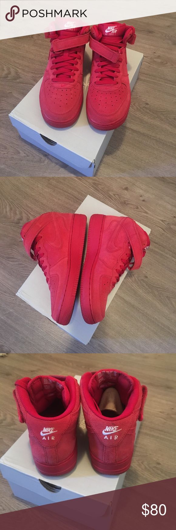 Nike Air Force 1s Nike Air Force 1s. Mid all red suede. Great condition & only worn twice! Size: 6y, women's 7.5 *can negotiate offers* shoe does fit true to size Nike Shoes Sneakers
