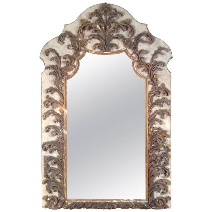 Monumental Antique Wall Mirror with Italian 17th Century Carved Details | From a unique collection of antique and modern floor mirrors and full-length mirrors at https://www.1stdibs.com/furniture/mirrors/floor-mirrors-full-length-mirrors/