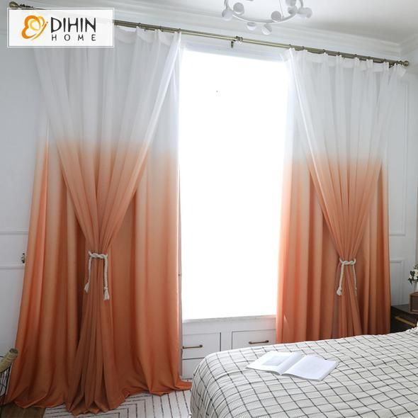 Dihin Home Exquisite Orange To White Printed Blackout Grommet