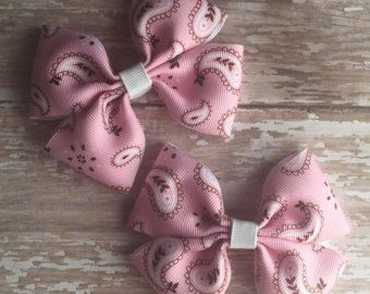 Light Pink Bandana Bow, Simple Bow, Cowgirl Bow, Pink and Black Bow, Western Bow, Newborn Bow, Baby Bow, Toddler Bow, Pink Bow, Bandana