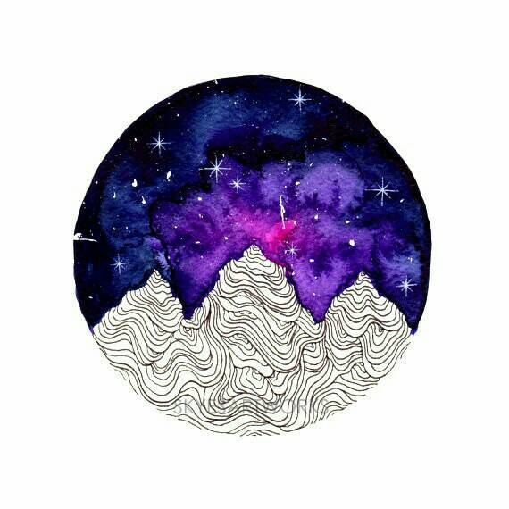 Mountains Watercolor Painting Pink Galaxy Art Print by SkyesArtworks