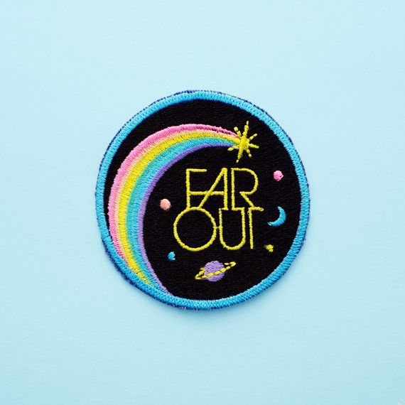 Far Out Iron On Patch by luckyhorsepress on Etsy