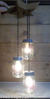 Mason Jar 3-Light Fixture Chandelier WOOD STAR  Ball Mason Rustic Primitive