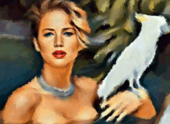 Aceo original  painting & mix media.. 2,5 x 3,5 inch Jennifer Lawrence.