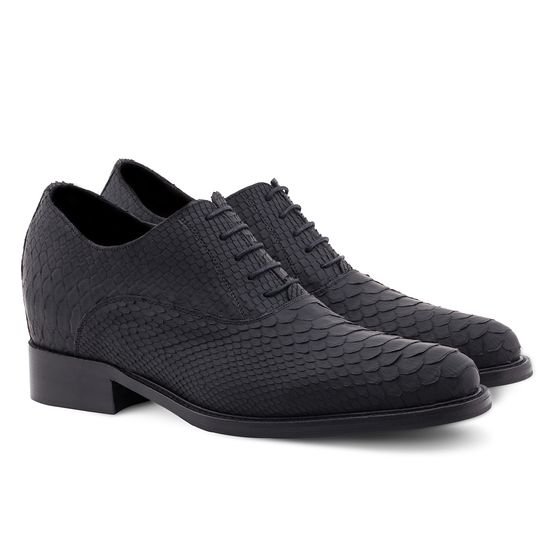 Exotic Leather Elevator Shoes - Upper in genuine Python black matt leather, insole and midsole in genuine leather, cotton waxed shoe laces. Hand Made in Italy.