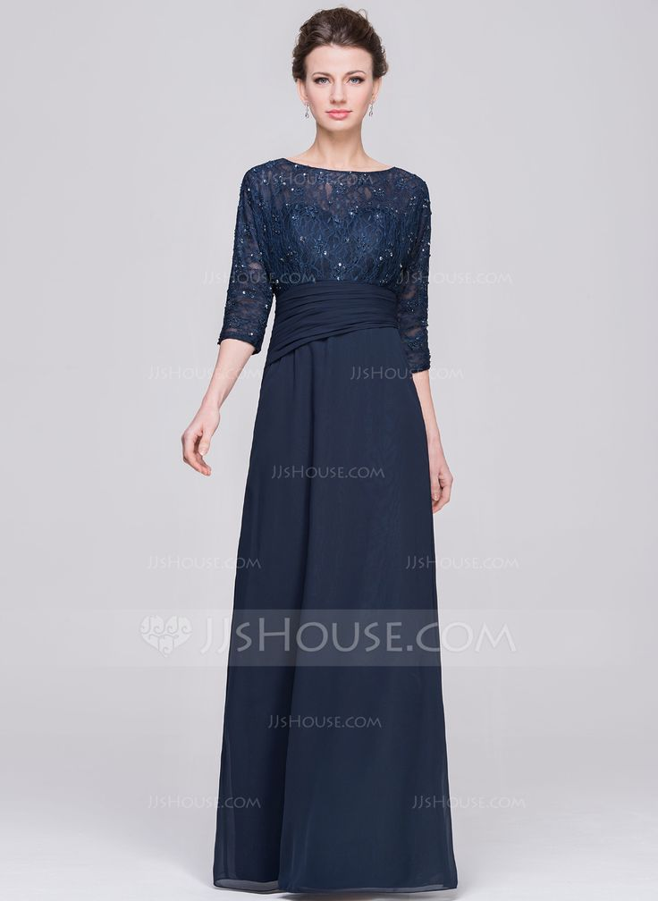 A-Line/Princess Scoop Neck Floor-Length Chiffon Lace Mother of the Bride Dress With Ruffle Beading Sequins (008058402) - JJsHouse