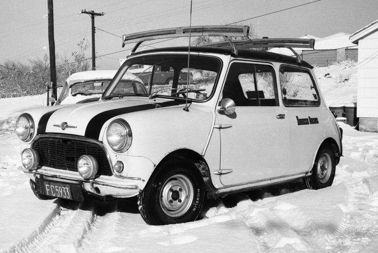 Car 6 - 1961 Mini.  My third Mini purchased for $250 on 12-1-67. Made a great ski car as you can see by the ski rack.  Drove this in 1967 and 1968.