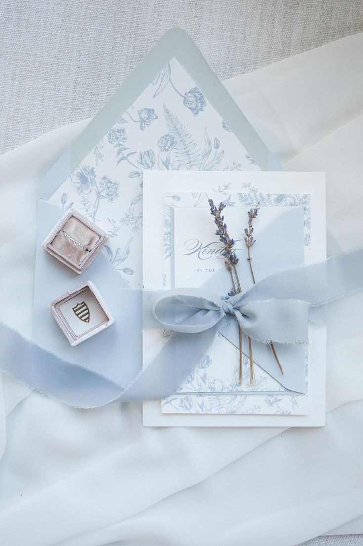 Blue and White Floral Wedding Invitation Suite Chinoiserie