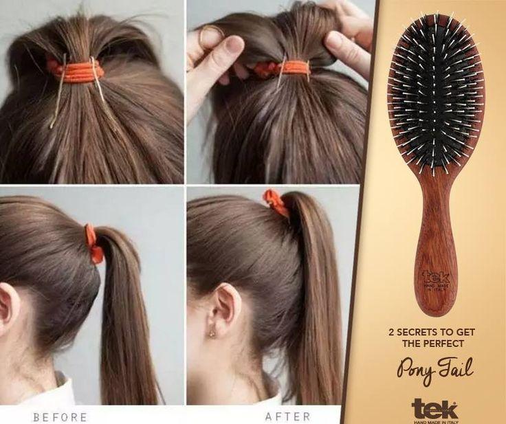 2 secretos en 1 para una cola de caballo perfecta:  - Usa un cepillo de jabalí 100% natural de Tek (lo encontrarás en:www.tekitaly.es/tiendaOnline/27-cepillos-jabali)  - Para darle más altura a la cola, añade dos horquillas en la parte posterior