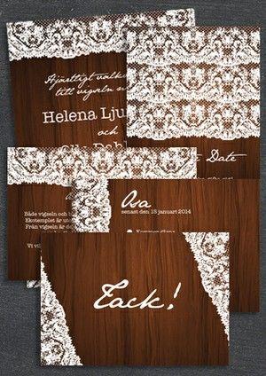 """Paket: """"At last"""" trä, SAVE THE DATE, INBJUDAN, TACKKORT, INFOKORT & OSA-KORT (VÄRDE 765 SEK)"""
