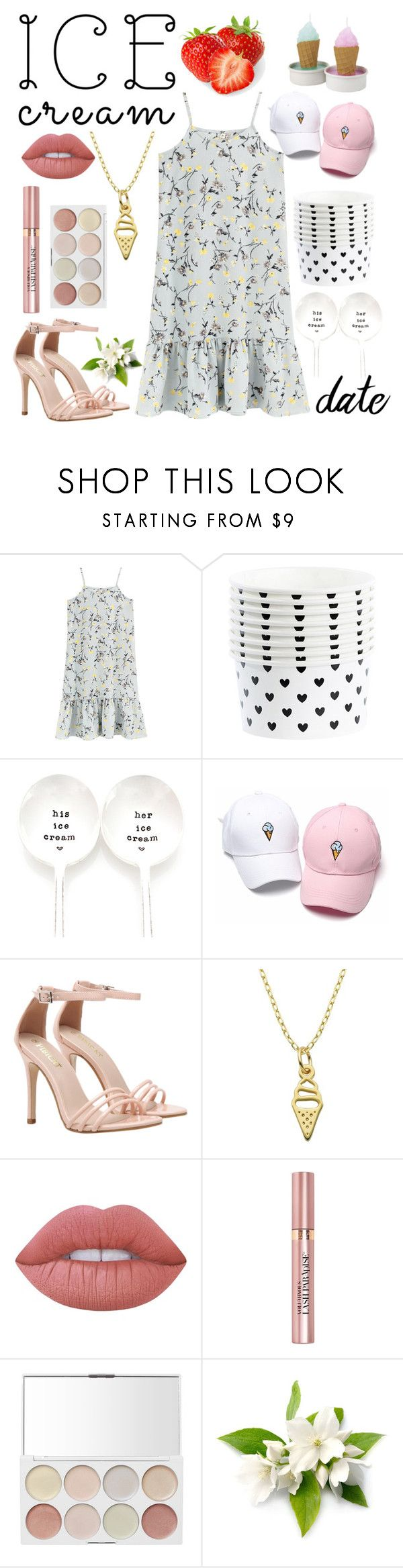 """cute ice cream date🍦💕"" by soleia19 ❤ liked on Polyvore featuring Miss Étoile, Milk + Honey, Lord & Taylor, Lime Crime and L'Oréal Paris"