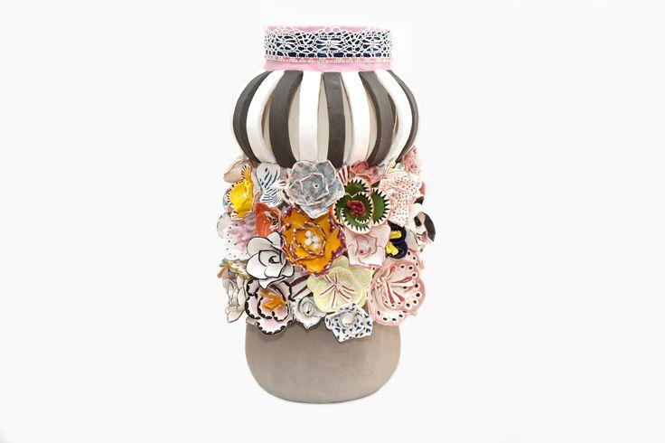 """""""Flower Tower Deluxe"""" ceramic art by Patricia Carvalho www.patriciacarvalho.net (Uma peça decorada com rosas e camélias. Esta técnica tradicional foi me ensinada na fábrica da Vista Alegre. Cerâmica pintada com vidrados e engobes, decorada com vários têxteis)"""