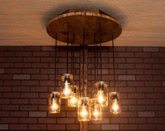 5 Mason Jar Chandelier Light Fixture Beautiful Color by wiresNjars