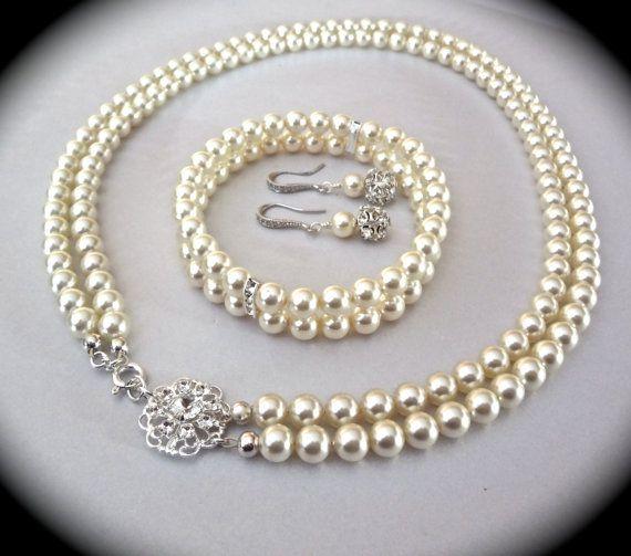 Perlenschmuck Set Swarovski Perlen 2 Strang Armband Halskette Perle Ohrringe Geschenk für eine Braut Mutter der Braut Braut Hochzeit Schmuck
