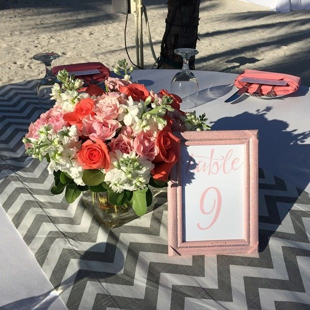 Key West Wedding Ideas: Coral, Pink And White, Wedding Centerpiece Created By Love
