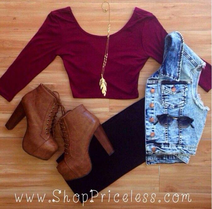 Cute outfit Leggings,Lita Boots,Burgundy Top && Jean Vest ...