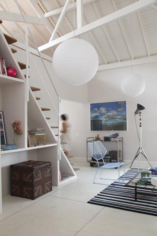 paper lanterns + wooden ceiling