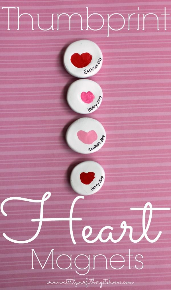 Use your little's finger or thumb to create sweet thumbprint hearts in clay to make a sweet, keepsake magnet. Grandmas and Grandpas will lo...