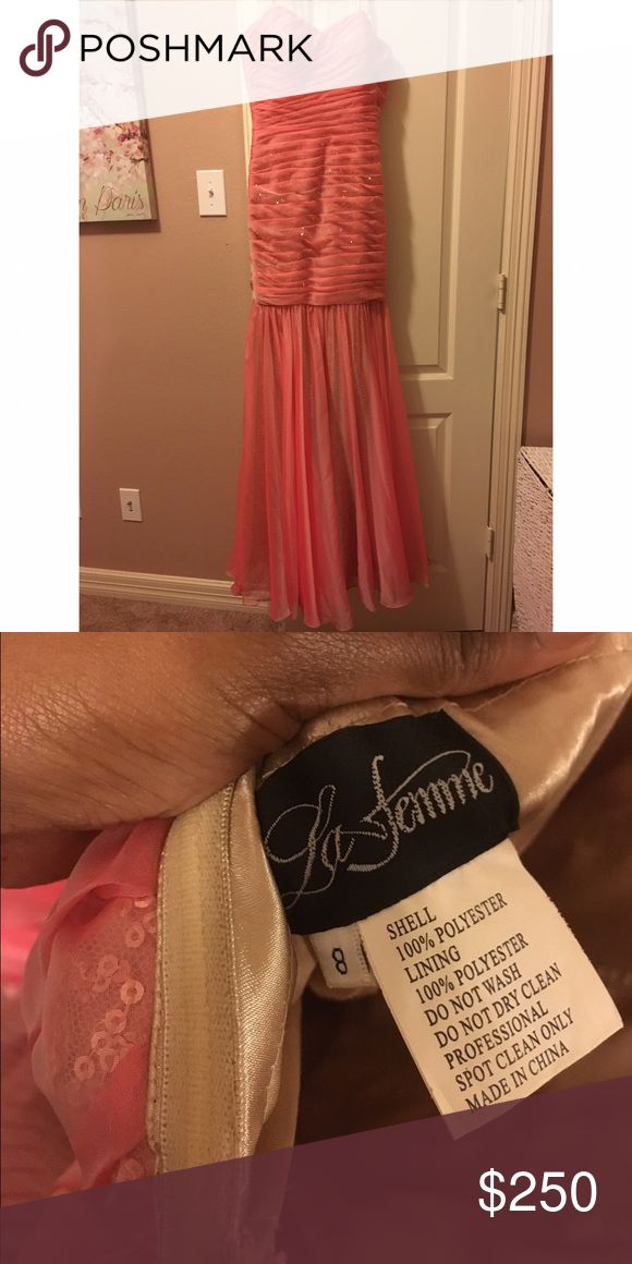 La Femme Pink Mermaid Prom Gown Has been worn once briefly, appears brand new,true to size, form fitting La Femme Dresses Prom