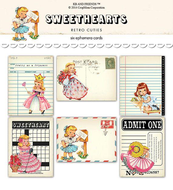"Digital Retro Girl Ephemera Cards / library card, postcard, ticket, notepaper, crossword / 3"" by 4"" / downloadable / printable"