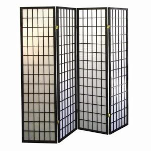 Home Decorators Collection 4-Panel Natural-Fiber Room Divider in Black-R530-4 at The Home Depot.  Convert to bi-fold doors.