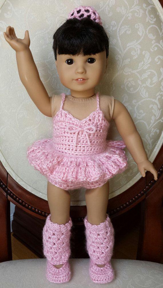 "Crocheted Crochet American Girl 18"" Doll Ballerina Isabelle Pink Tutu Leotard Leg Warmers Outfit Set, No Pattern"