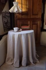 Ruffled Linen Round Tablecloth Gorgeous Shabby Chic! 100% stonewashed Linen