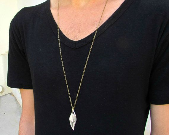Men's Necklace Men's Minimal Long Necklace Men's Silver by GUSFREE