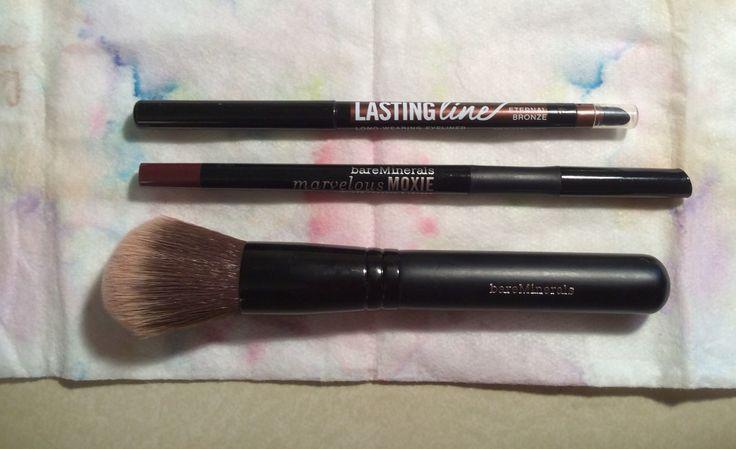 bare minerals brush, lip liner, eye liner