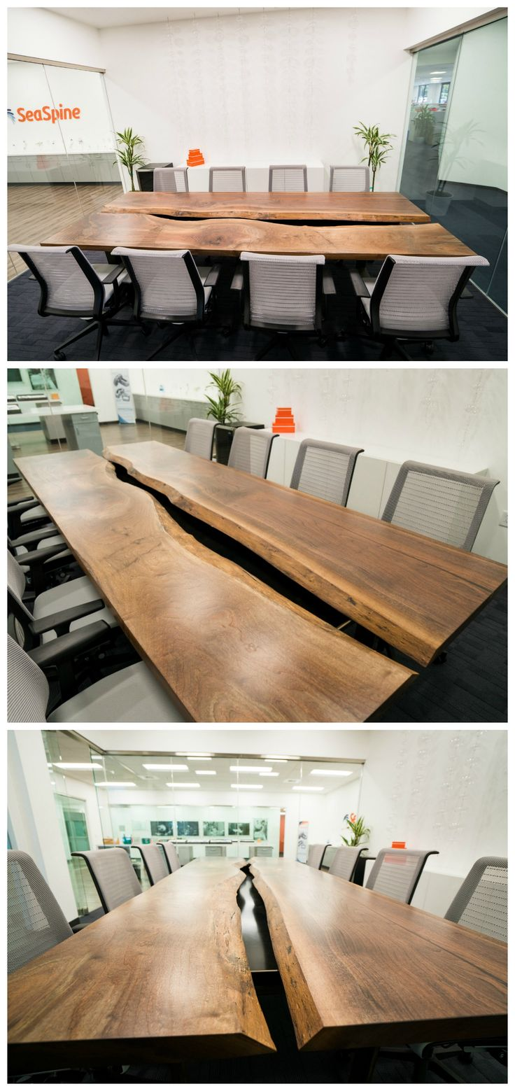 Black walnut conference room table for SeaSpine in Carlsbad, CA. Live edge running down the middle.