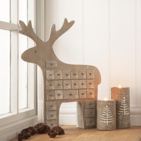 Gisela Graham Natural Wooden Reindeer Advent Calendar