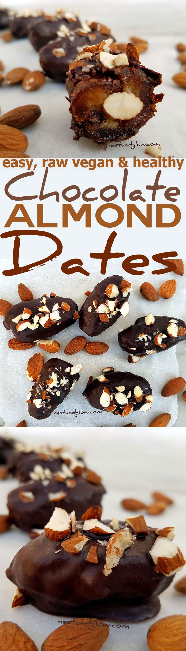 These little indulgent chocolate covered stuffed dates are easy and fun to make but taste delicious. Dairy and sugar free. via @nestandglow