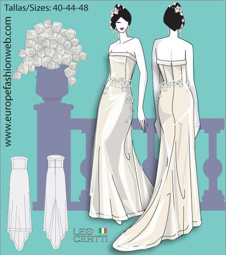 Sewing pattern of  Strapless wedding dress
