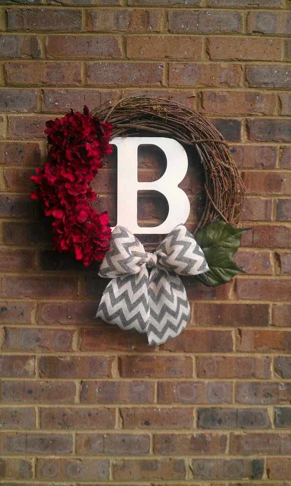 Christmas Red Sparkle Hydrangea Initial Chevron Burlap Wreath by simplystunninghome, $48.00