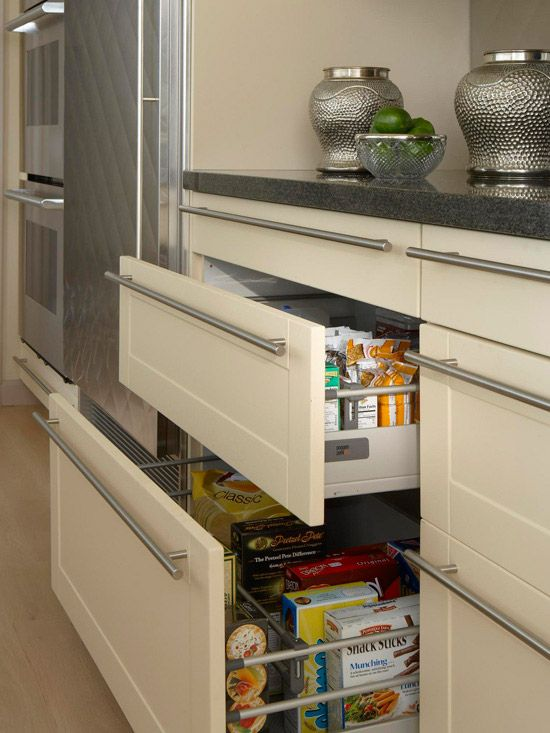 Using substantial-size drawers is a smart alternative to a full-size pantry when kitchen space is limited. These drawers, outfitted with compartments, keep boxes and bags upright and organized.