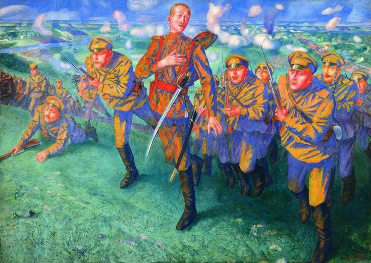 Название На линии огня Год создания 1916 Материал Холст, масло Размер 196 x 275 Собрание Государственный Русский музей